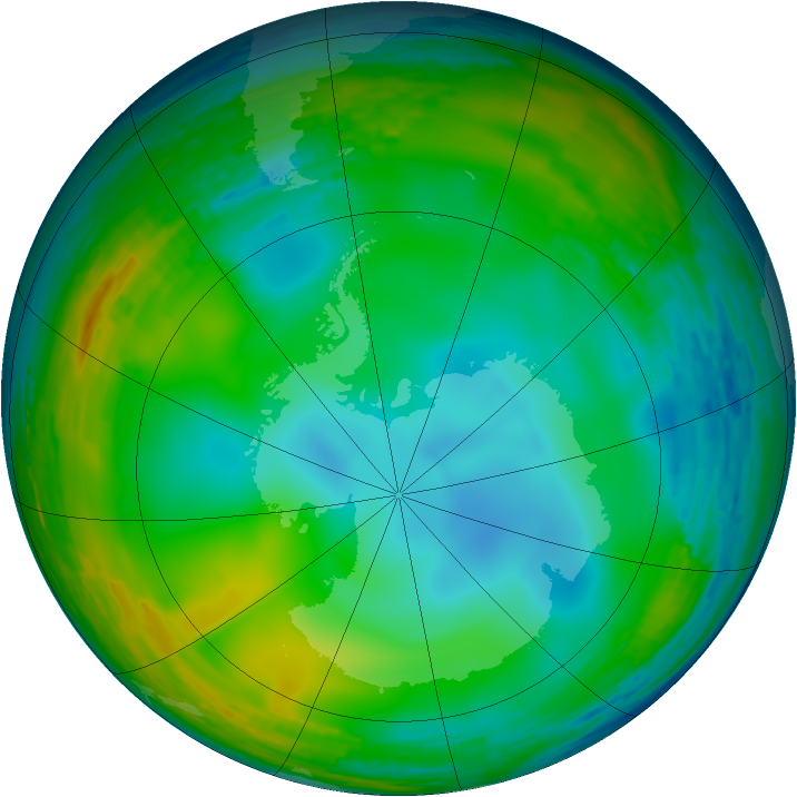 Antarctic ozone map for 23 July 1993