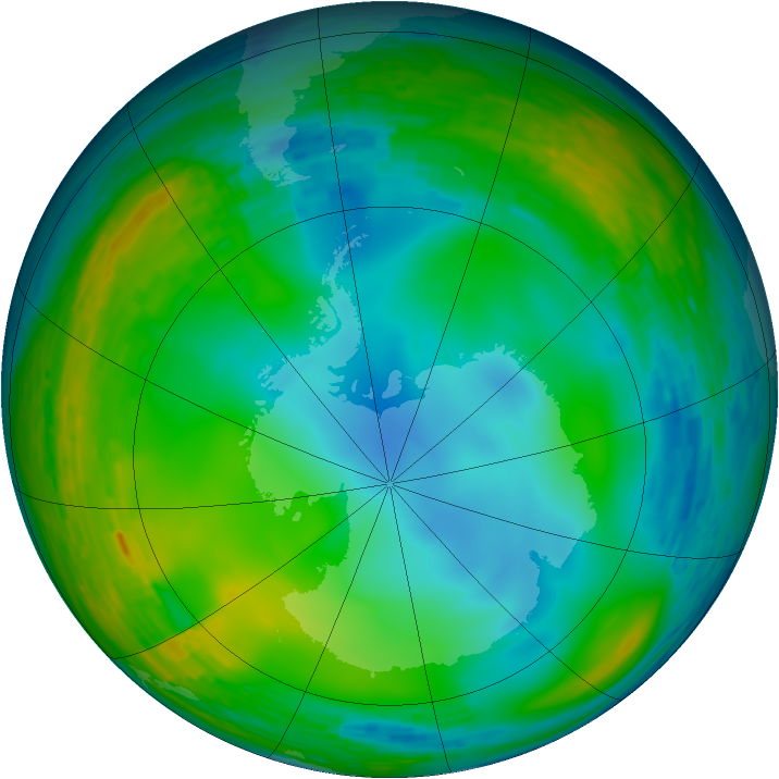 Antarctic ozone map for 24 July 1993