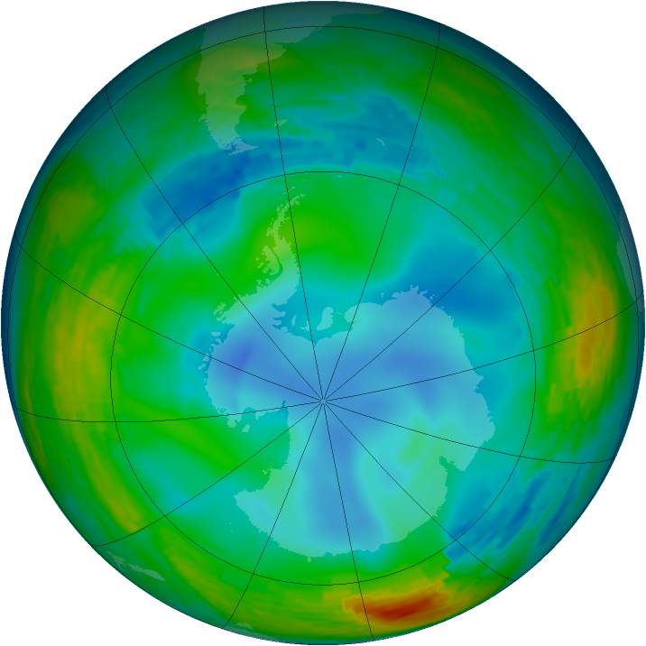 Antarctic ozone map for 28 July 1993