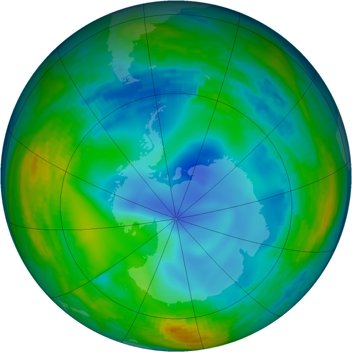 Antarctic ozone map for 29 July 1993