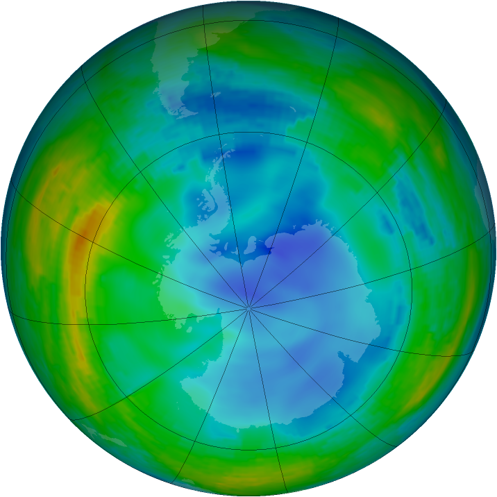 Antarctic ozone map for 30 July 1993