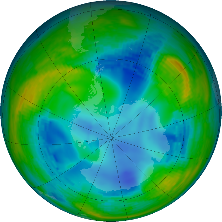 Antarctic ozone map for 01 August 1993