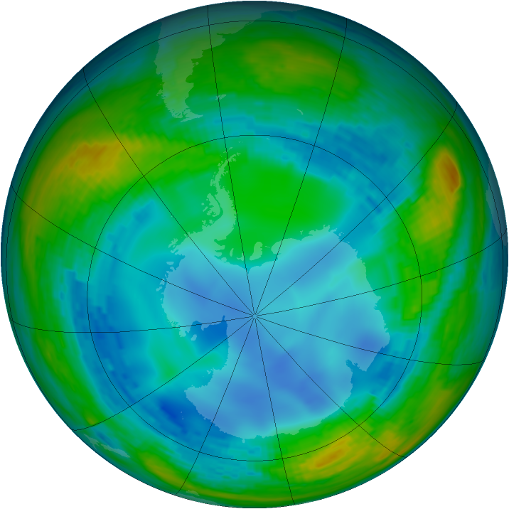 Antarctic ozone map for 02 August 1993