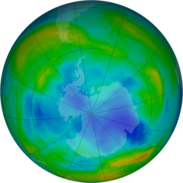 Antarctic ozone map for 04 August 1993