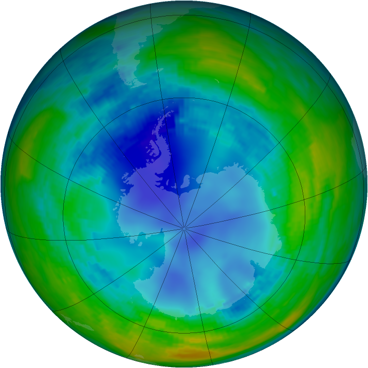 Antarctic ozone map for 10 August 1993