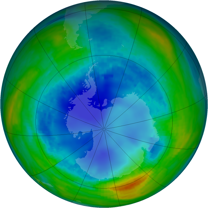 Antarctic ozone map for 14 August 1993