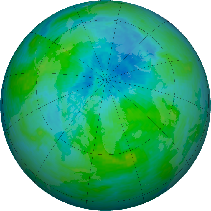 Arctic ozone map for 17 August 1993