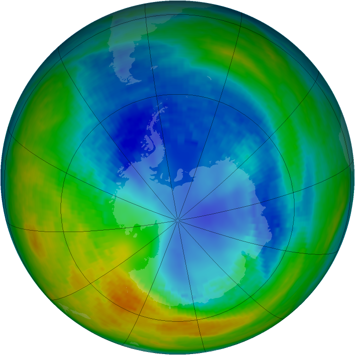 Antarctic ozone map for 22 August 1993