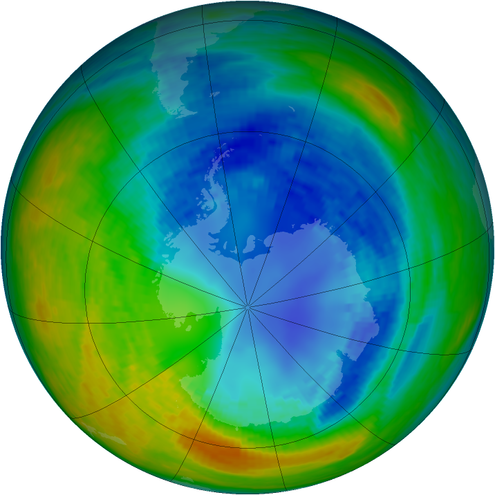 Antarctic ozone map for 23 August 1993