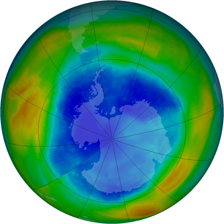 Antarctic ozone map for 28 August 1993