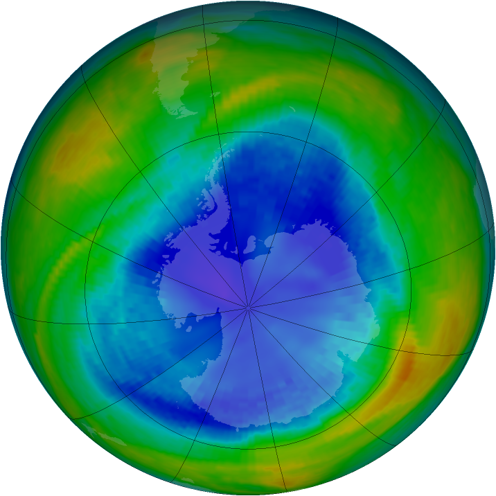 Antarctic ozone map for 30 August 1993