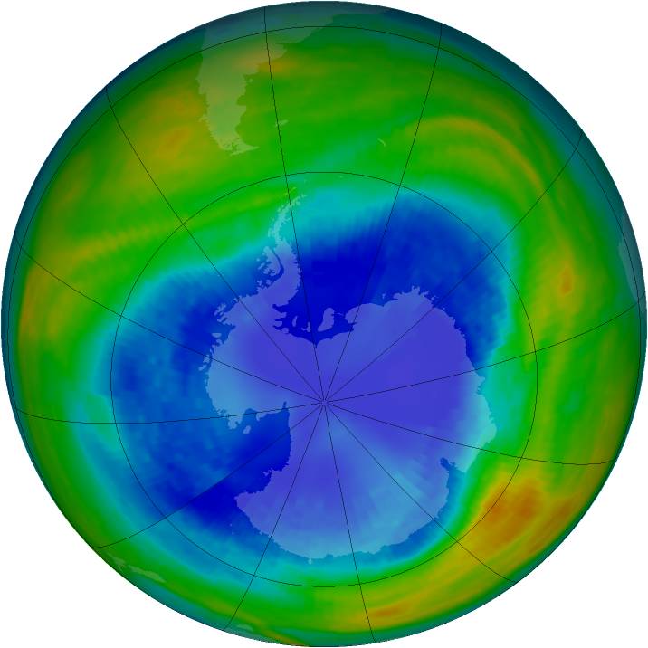 Antarctic ozone map for 01 September 1993