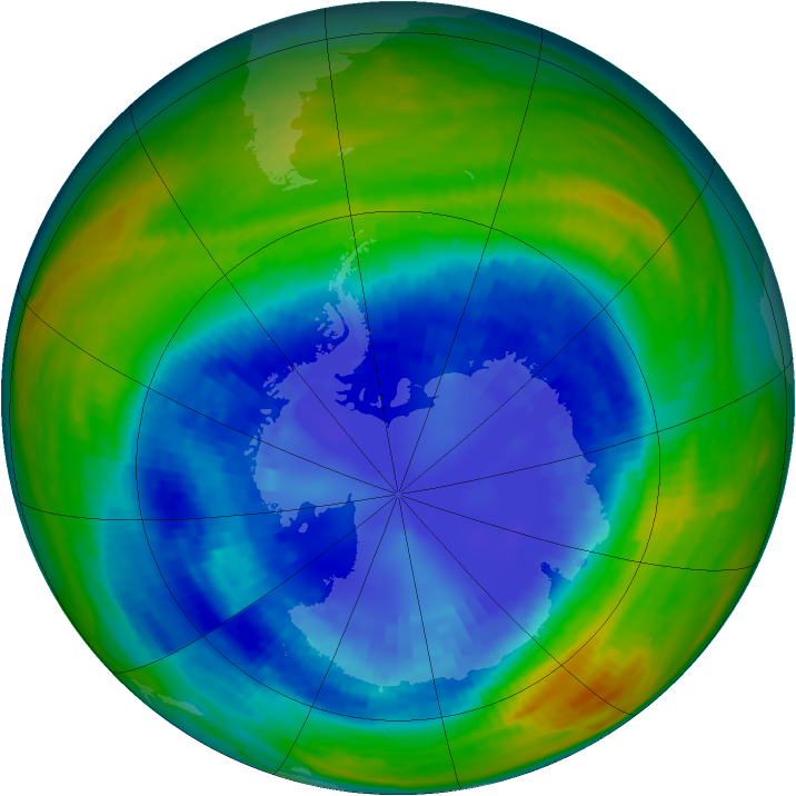 Antarctic ozone map for 02 September 1993