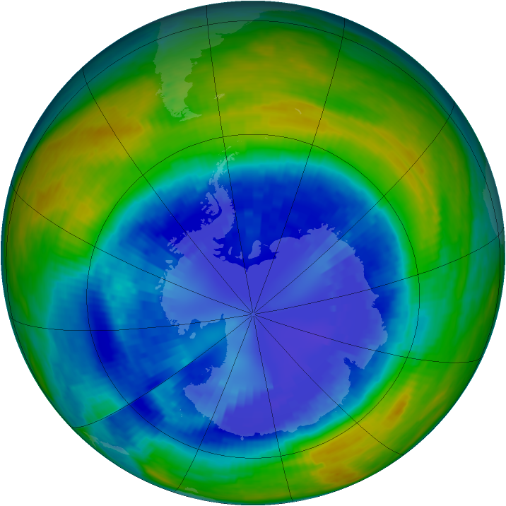 Antarctic ozone map for 03 September 1993