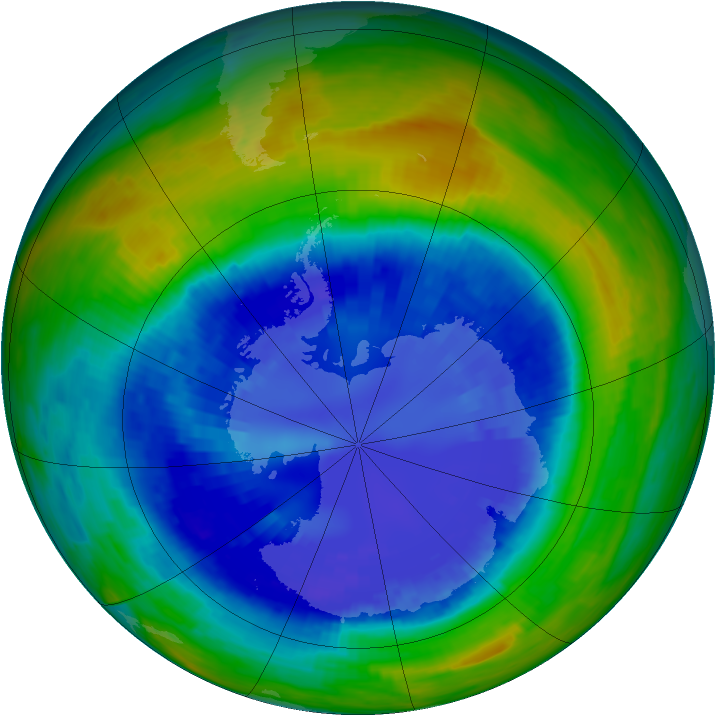 Antarctic ozone map for 04 September 1993