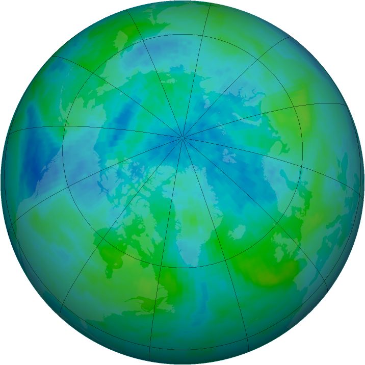 Arctic ozone map for 12 September 1993
