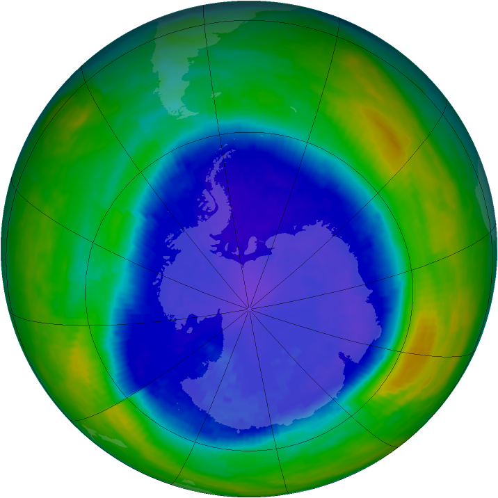 Antarctic ozone map for 13 September 1993