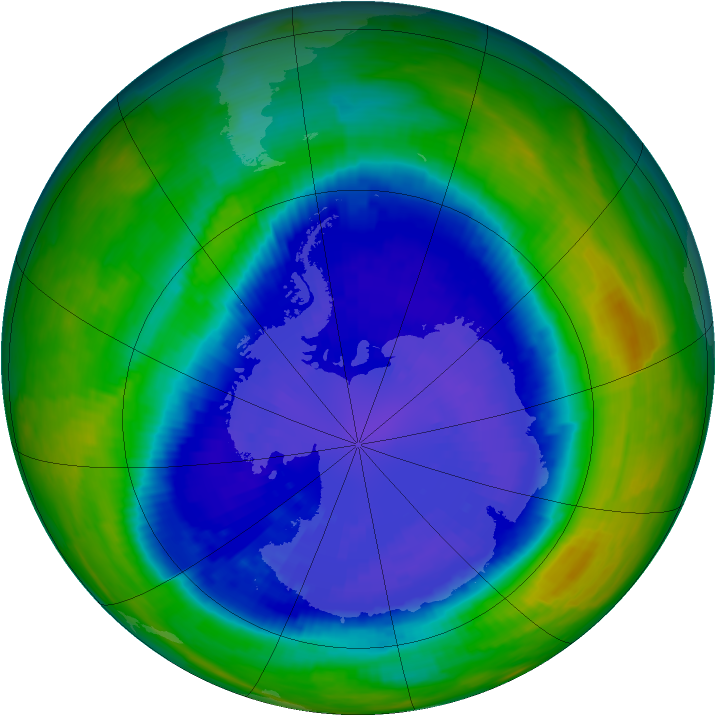 Antarctic ozone map for 14 September 1993