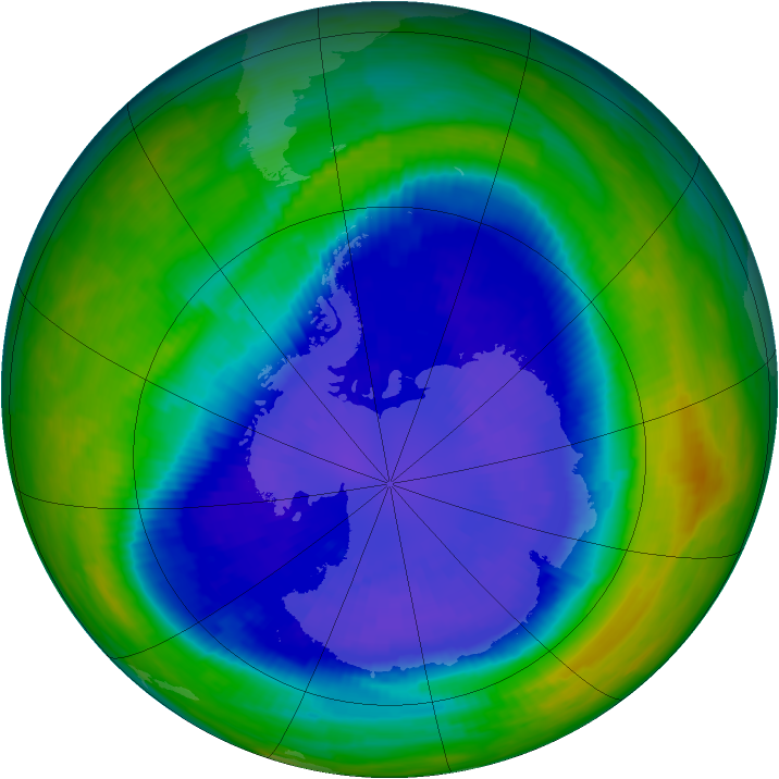 Antarctic ozone map for 15 September 1993