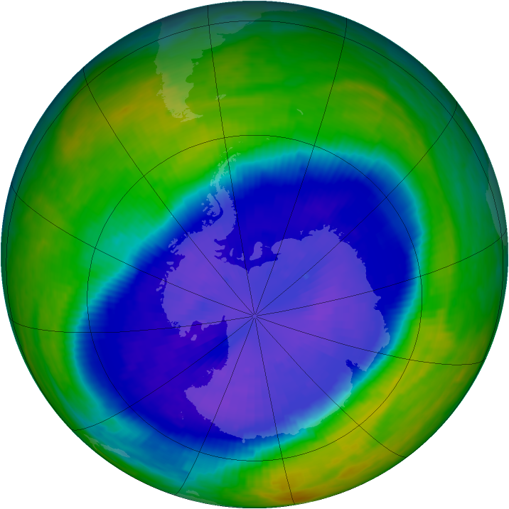 Antarctic ozone map for 18 September 1993