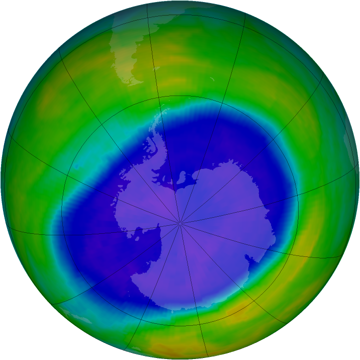 Antarctic ozone map for 19 September 1993