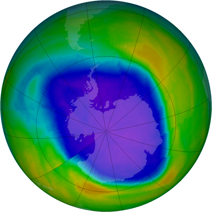 Antarctic ozone map for 25 September 1993