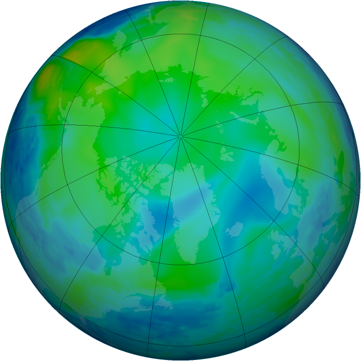 Arctic ozone map for 31 October 1993
