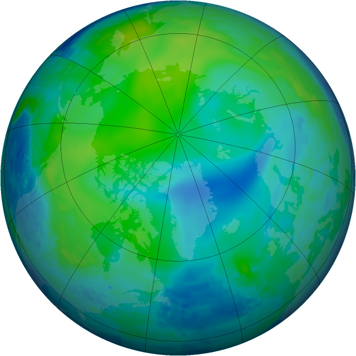 Arctic ozone map for 02 November 1993