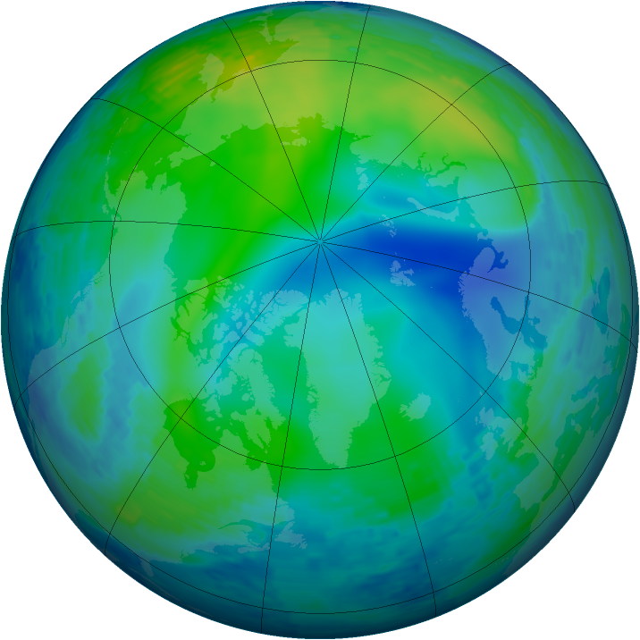 Arctic ozone map for 06 November 1993