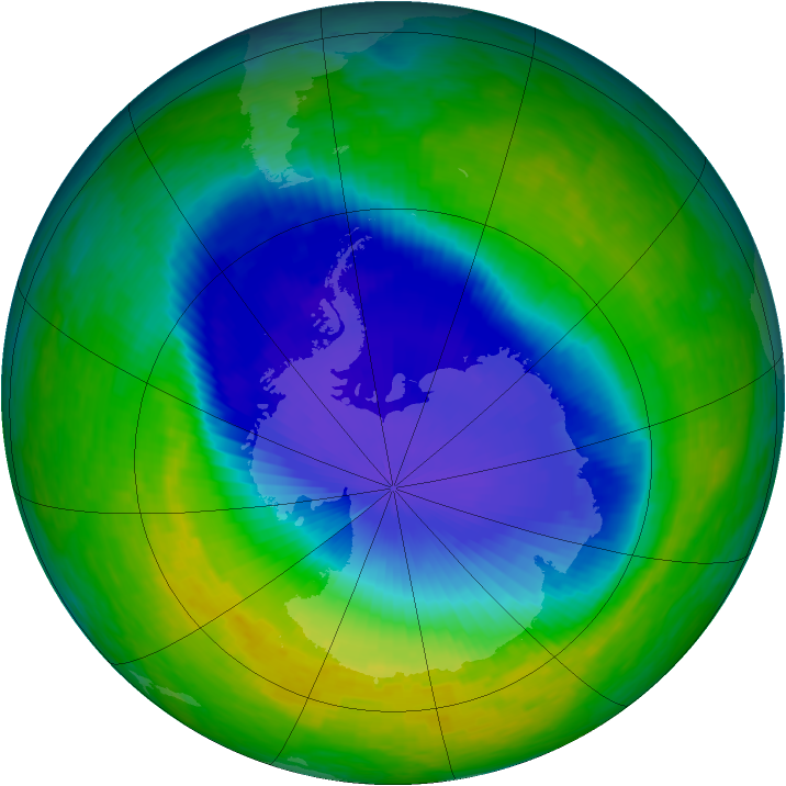 Antarctic ozone map for 11 November 1993