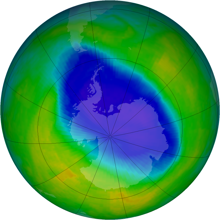 Antarctic ozone map for 12 November 1993