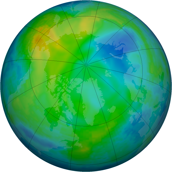 Arctic ozone map for 13 November 1993