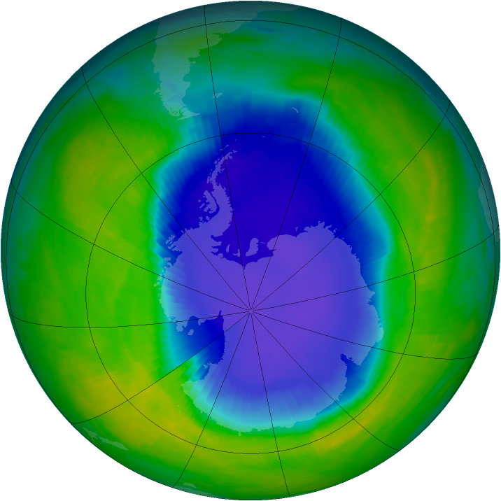 Antarctic ozone map for 17 November 1993
