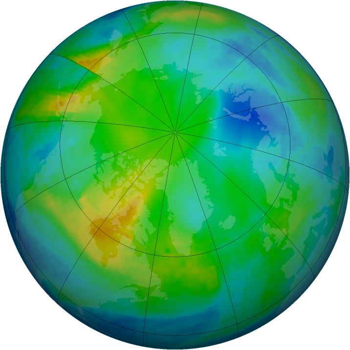 Arctic ozone map for 22 November 1993