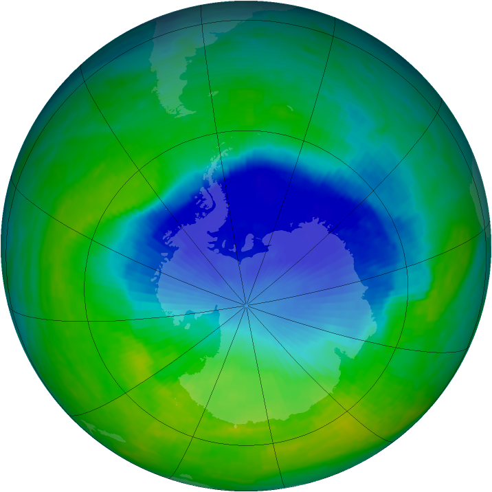Antarctic ozone map for 23 November 1993