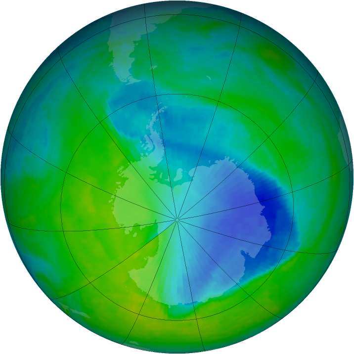 Antarctic ozone map for 28 November 1993