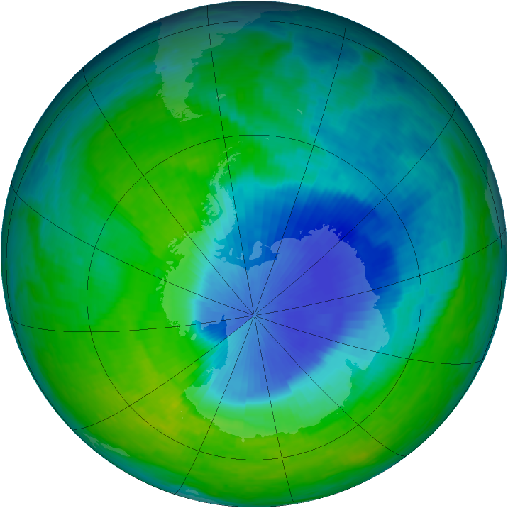 Antarctic ozone map for 01 December 1993