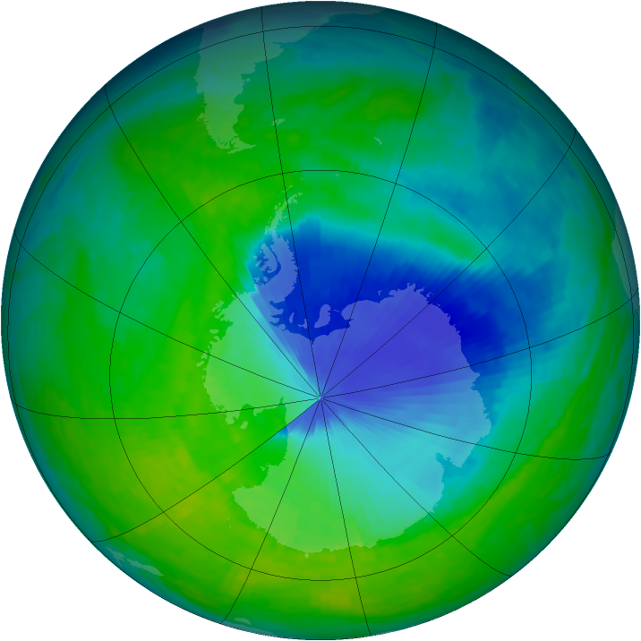 Antarctic ozone map for 02 December 1993