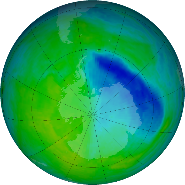 Antarctic ozone map for 04 December 1993