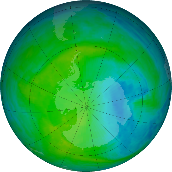 Antarctic ozone map for 07 December 1993