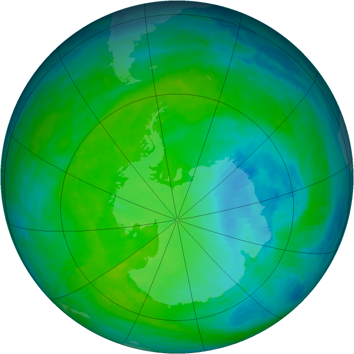 Antarctic ozone map for 08 December 1993