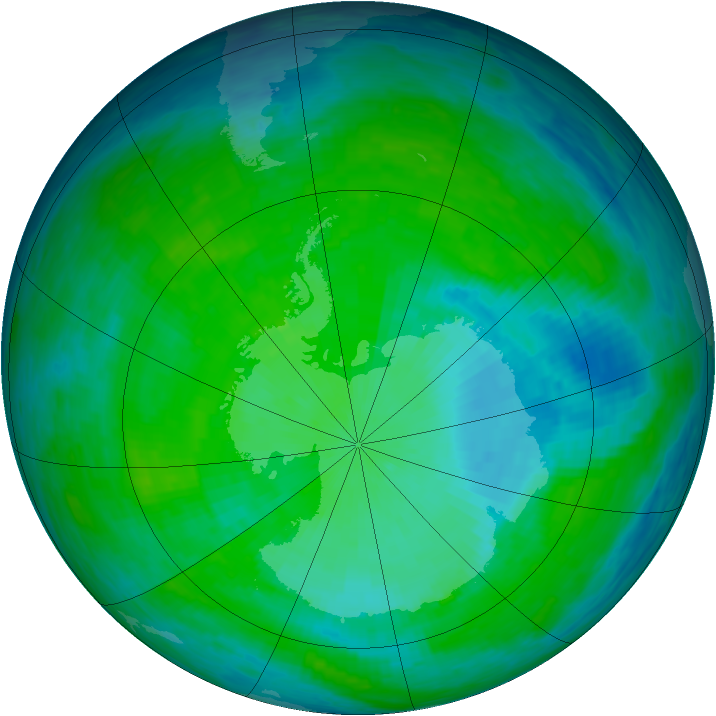 Antarctic ozone map for 10 December 1993