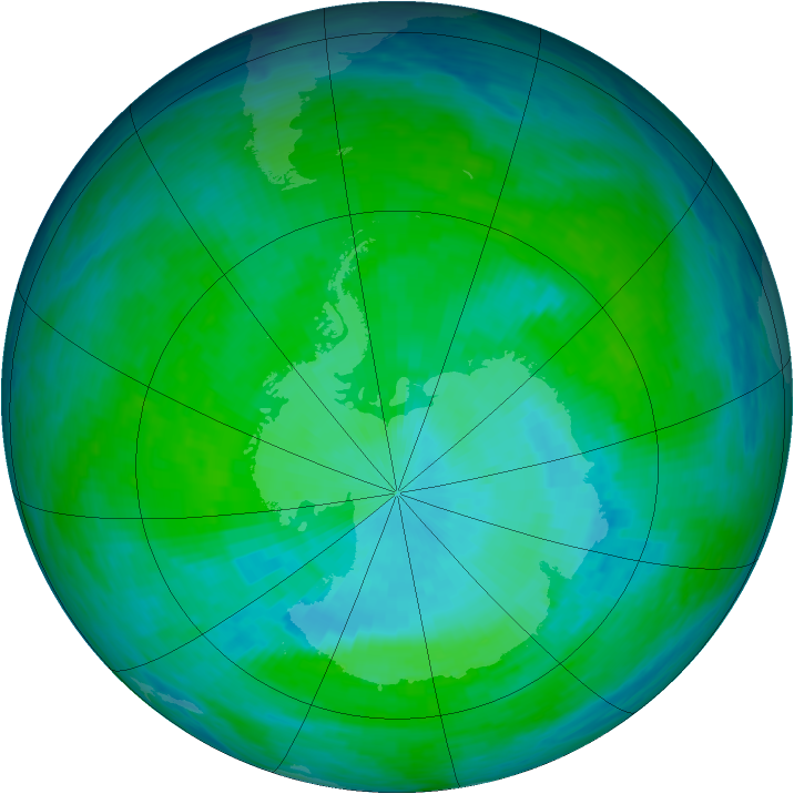 Antarctic ozone map for 13 December 1993