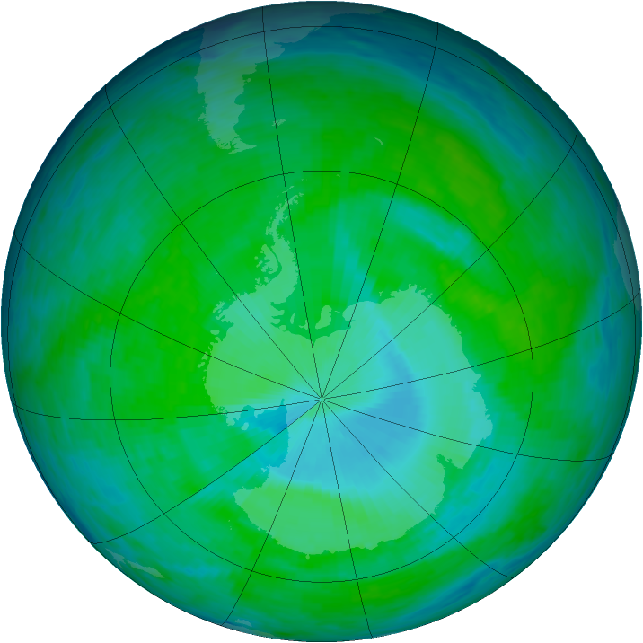 Antarctic ozone map for 14 December 1993