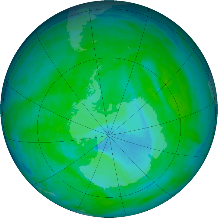Antarctic ozone map for 15 December 1993