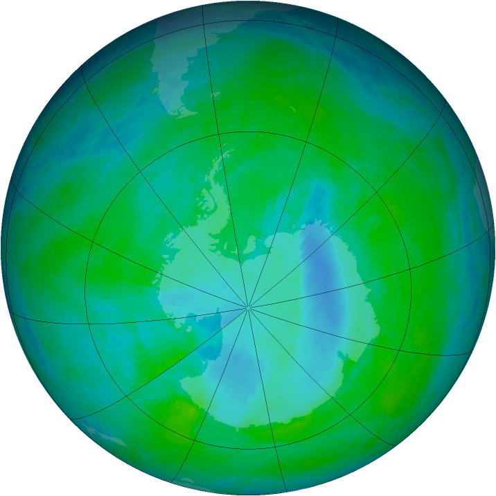 Antarctic ozone map for 17 December 1993