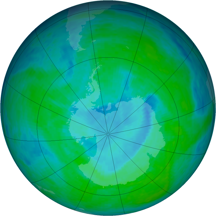 Antarctic ozone map for 19 December 1993