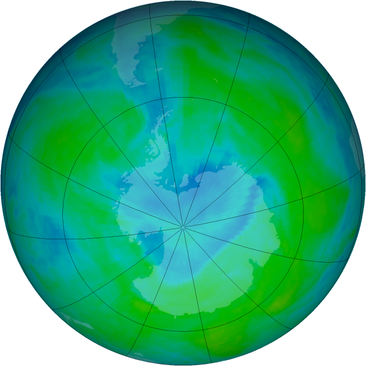 Antarctic ozone map for 20 December 1993