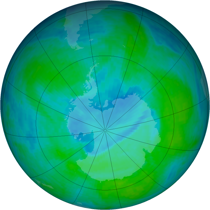 Antarctic ozone map for 21 December 1993