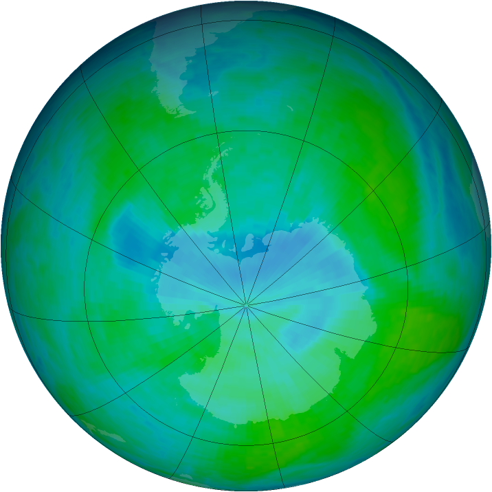Antarctic ozone map for 23 December 1993